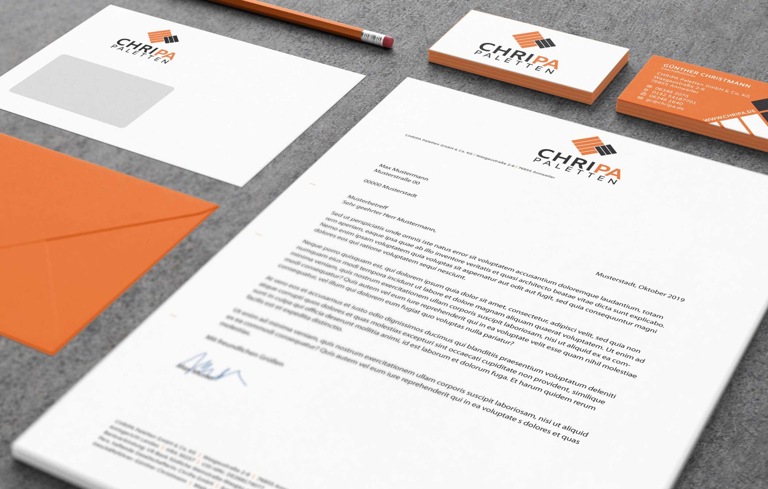 CHRIPA Paletten GmbH & Co.KG –Design/Konzeption/Werbemittel
