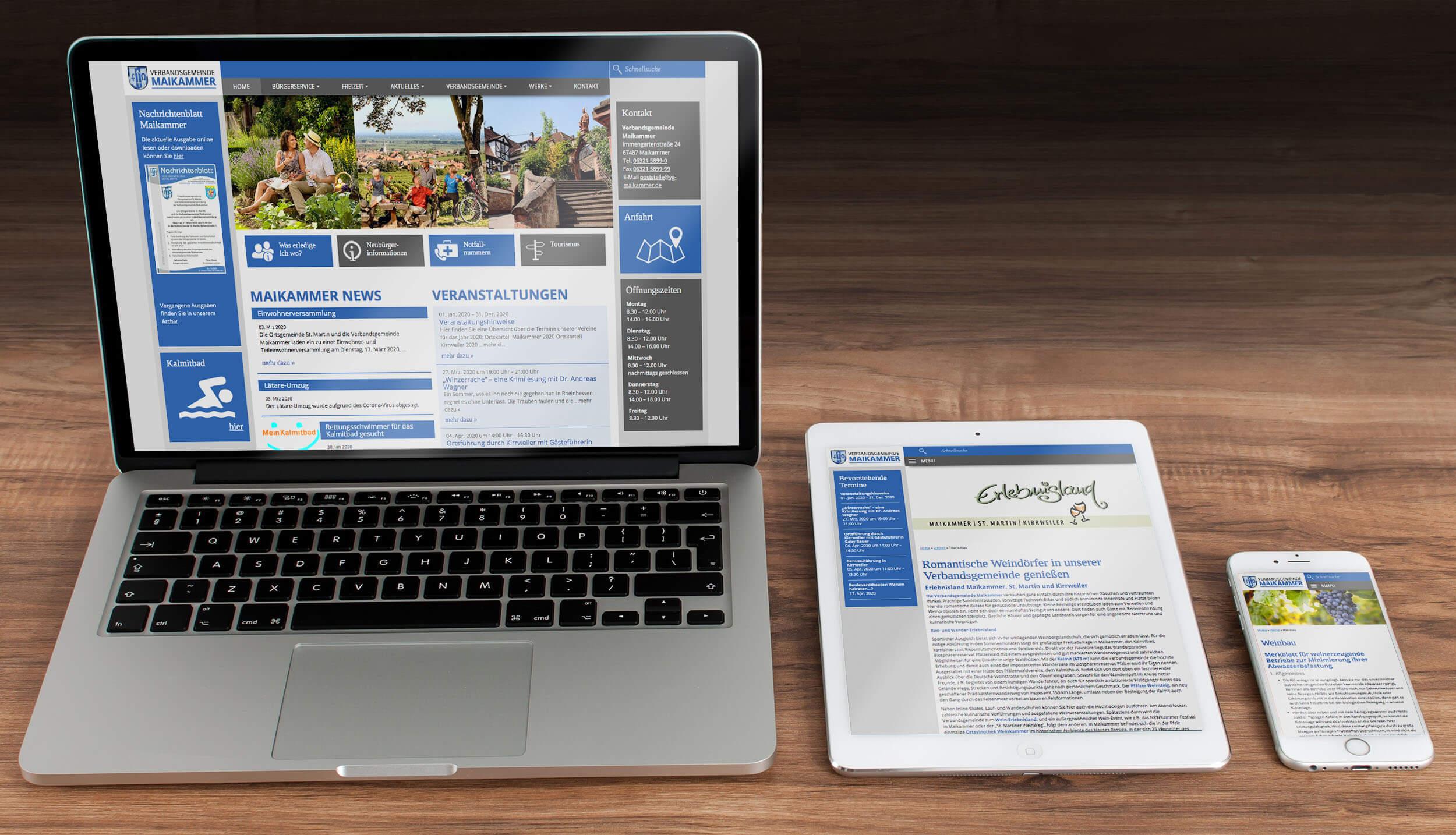 Verbandsgemeinde Maikammer – Webdesign & -entwicklung